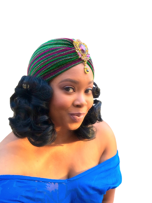 """Matrix"" Purple, Green & Gold Shimmer Turban"