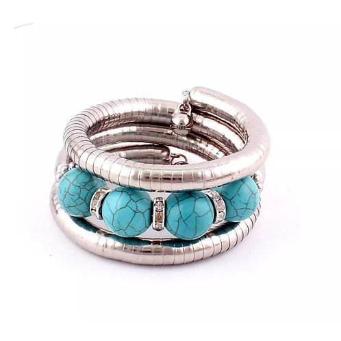 """Turquoise & Studs"" Bangle Bracelet"