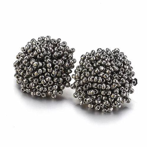 """Beaded Button """"Silver"""" Earrings"""