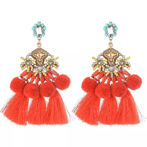 """""""Margarita"""" Red Boho Fringe Dangle Earrings"""