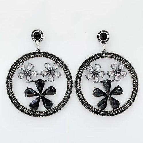 """""""Flower Child"""" Black Modern Hoop Rhinestone Earrings"""
