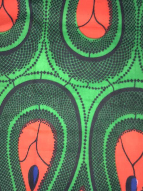 """Orange, Green, & Navy"" African Print Head Wrap"