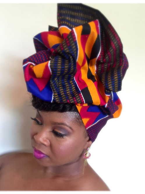 Bold Kente African Print Head Wrap