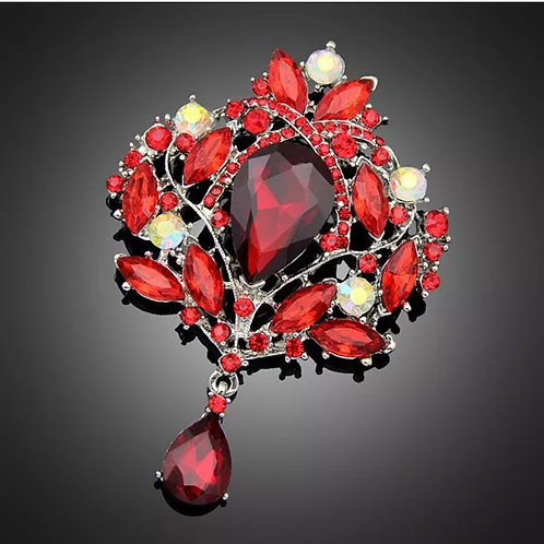 """Ruby Red Cluster"" Extra Large Rhinestone Brooch"