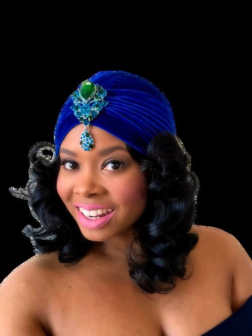 """Royal Velvet"" Vivid Blue Turban"