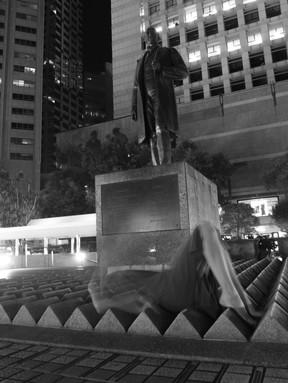Self-portrait with Statue of Sir Thomas Jackson, 2018