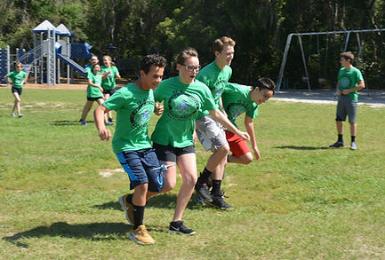 Students in Three-Legged Race