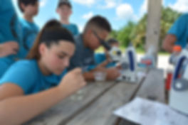 Students conducting water-quality testing