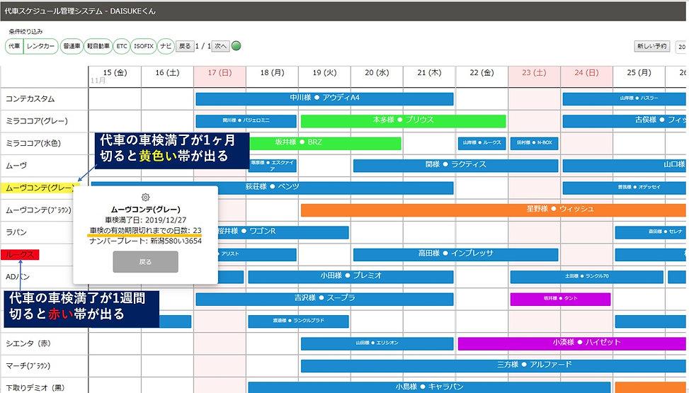 自動車整備工場の代車スケジュール管理システム【daisukeくん】の代車車検満了知らせ