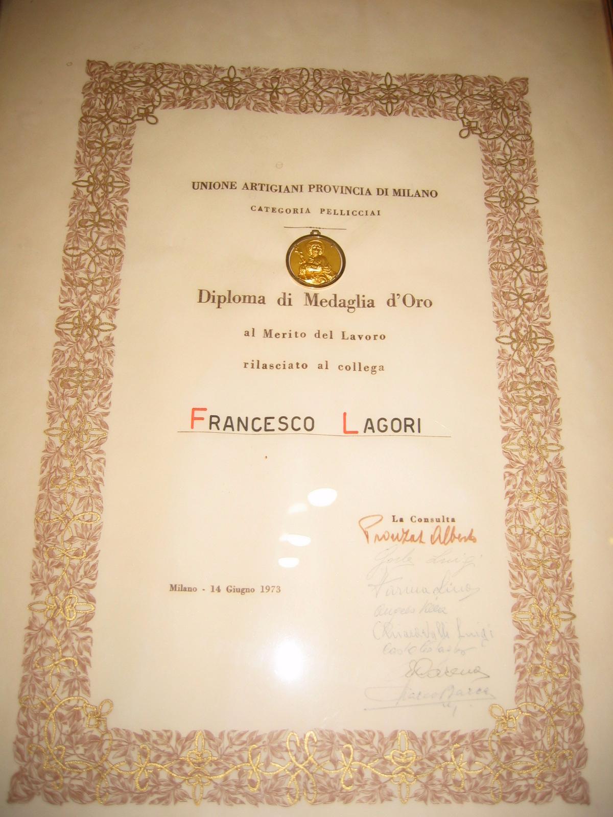 Medaglia d'oro Unione artigiani