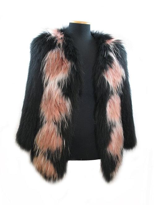 Giacca in raccoon rosa, bianca e nera