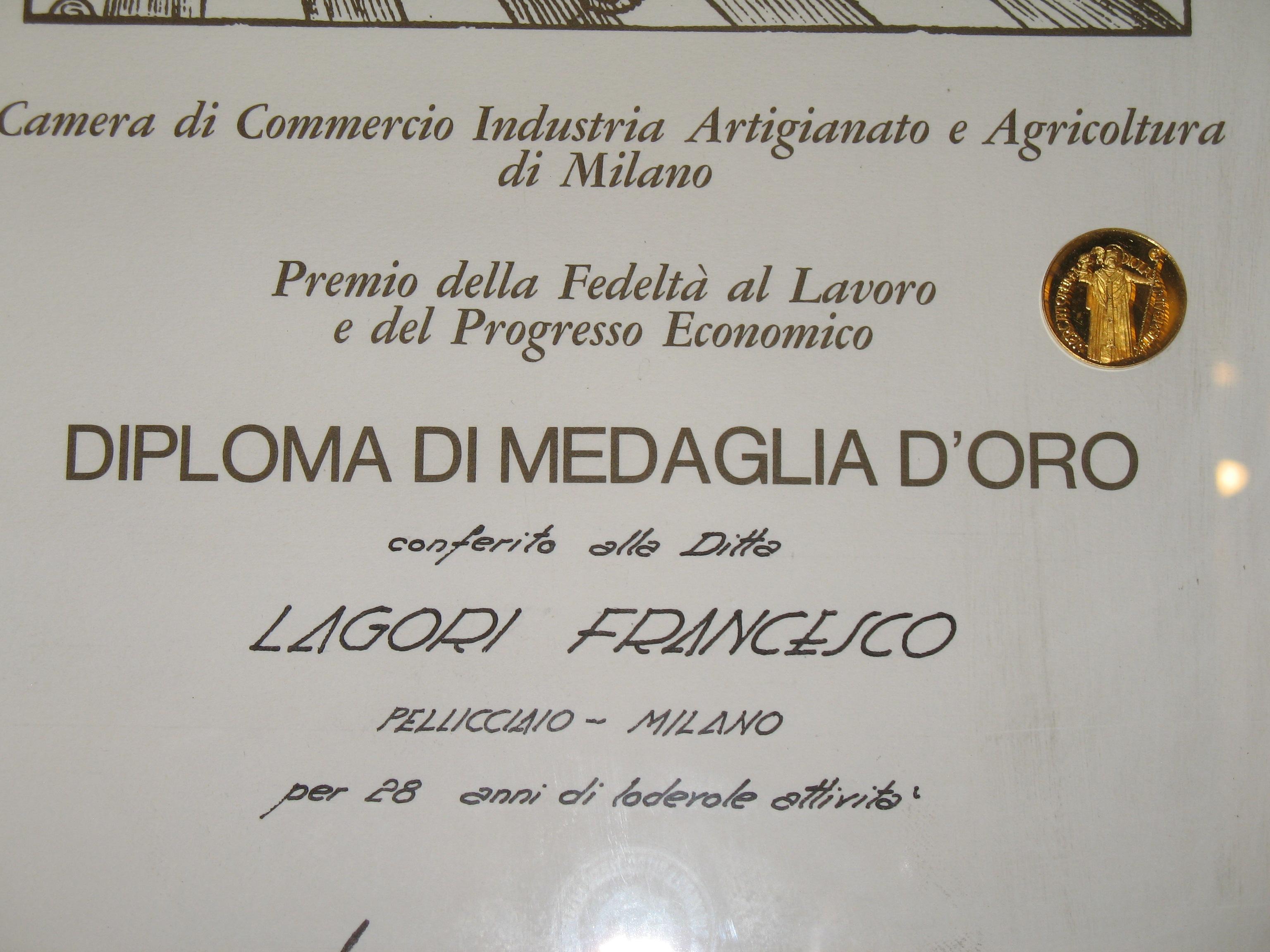 Medaglia d'oro Camera di Commercio