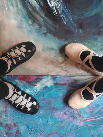 Here we go!!! Our dance shoes, our paint