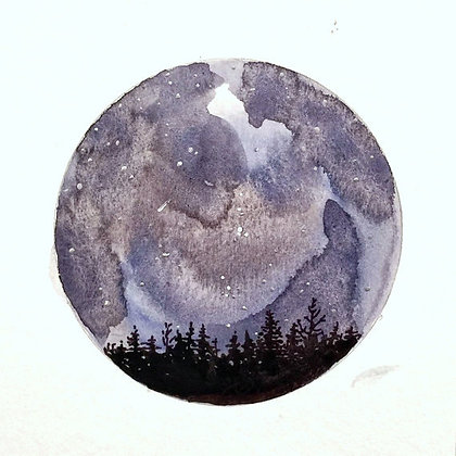 "Upon A Dark & Starry Night (5""x5"")"