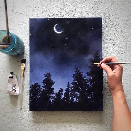 """Crescent Moon (11""""x 14"""")"""