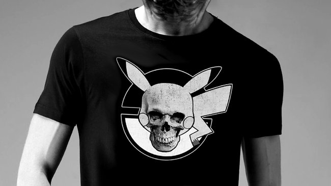 Pika-Ball Skull Blk T-Shirt
