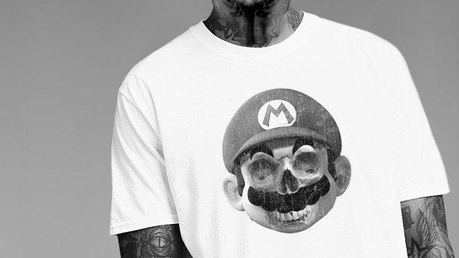 Mario Skull White T-Shirt