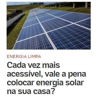 UOL destaca importância da Energia Solar