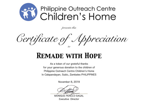 Phillipine Orphanage appreciation certificate