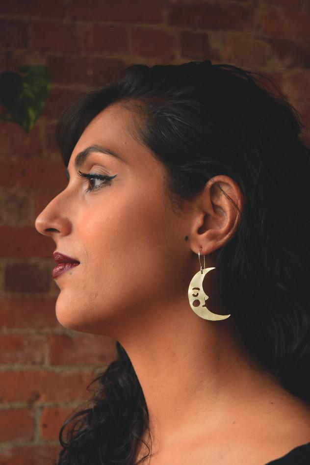 Crescent Moon Earrings, Silver