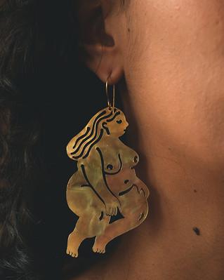 Mona Earrings, Brass