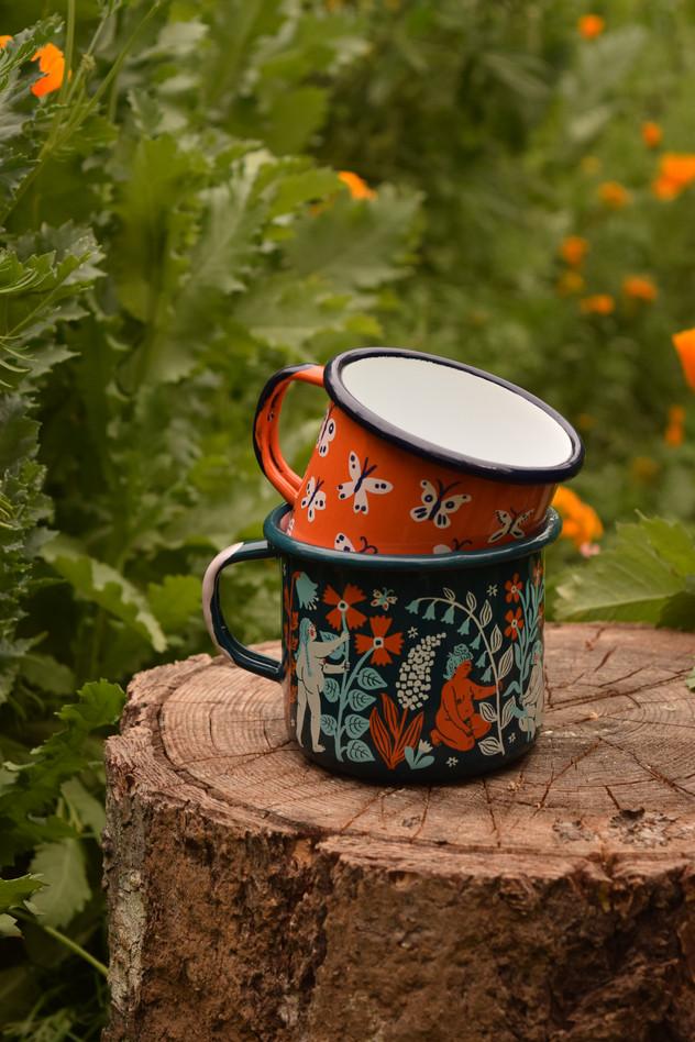 Butterfly & Flower Maidens Enamel Mugs