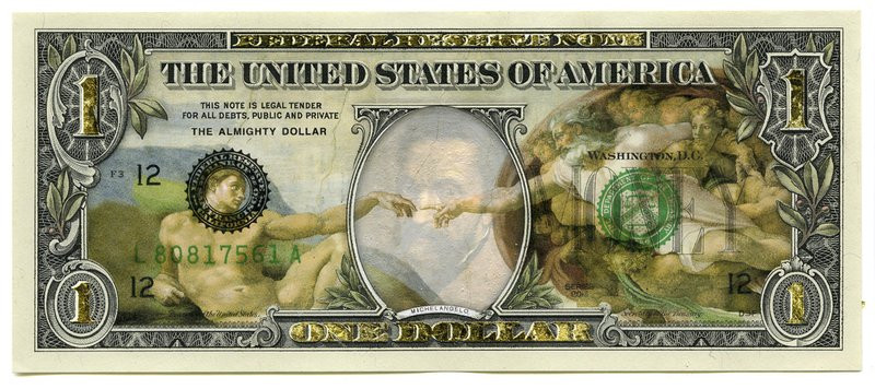 Dollar bill altered with mixed media art