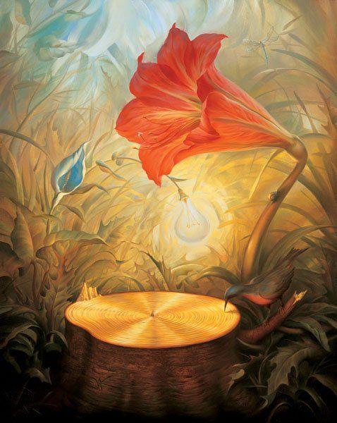 surrealism music lightbulb flower dark luminous red blue yellow gold green