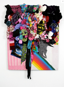 mixed media rainbow color fabric design
