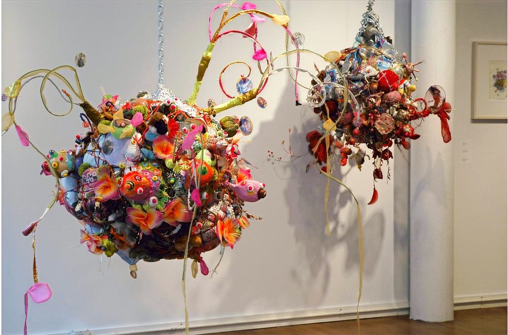 found art sculpture colorful hanging art piee