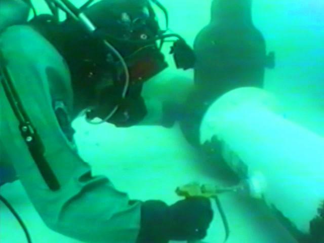 Diver applies Alocit underwater
