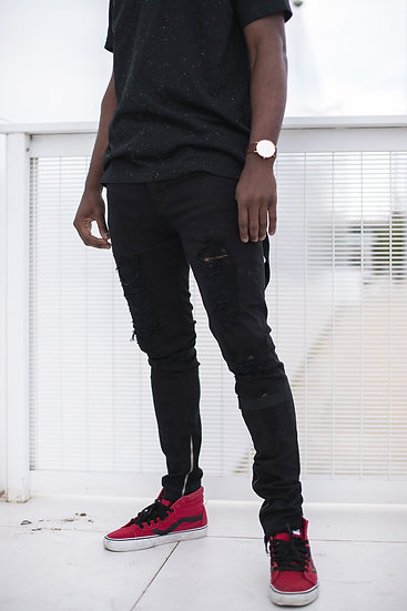 Asymmetric Ankle Zip Jeans