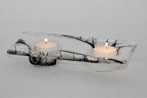 Lysglass for 2 telys 20x11 cm