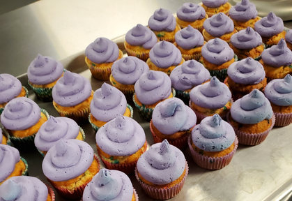 Confetti Cupcakes with Purple Whipped Frosting