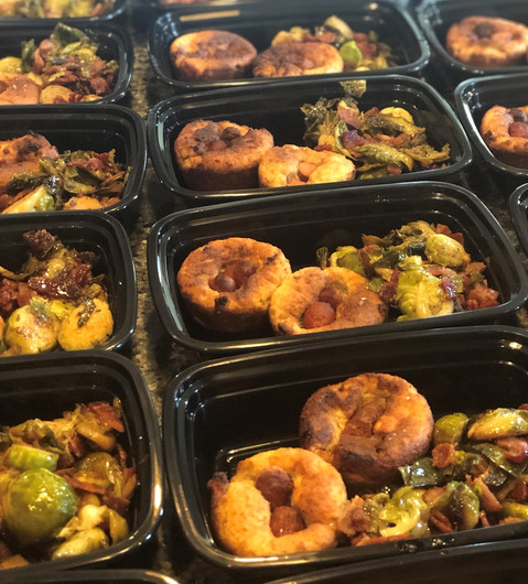 Corndog Muffins with Maple Bacon Brussel Sprouts