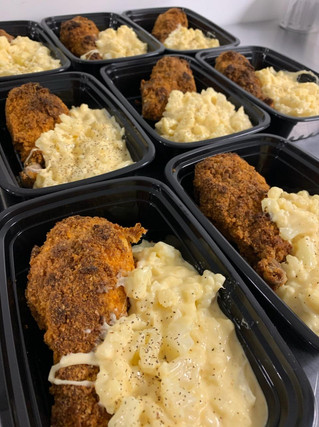 Fried Chicken with Cauliflower Mac and Cheese