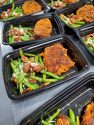 Fried Pork Chop with Curried Pecan Green Beans