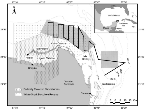 The triangular leg to the east of 86°45′W was added to the original survey design to incorporate the newly-discovered Afuera whale shark aggregagtion. Waypoints were marked on GPS instrumentation to ensure accurate repeatability of the same path.  https://doi.org/10.1371/journal.pone.0018994.g001