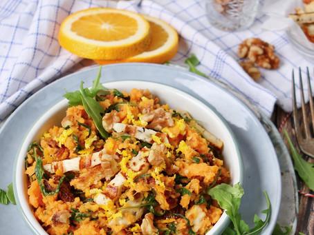 Vegetarische stamppot met zoete aardappel, rucola & halloumi