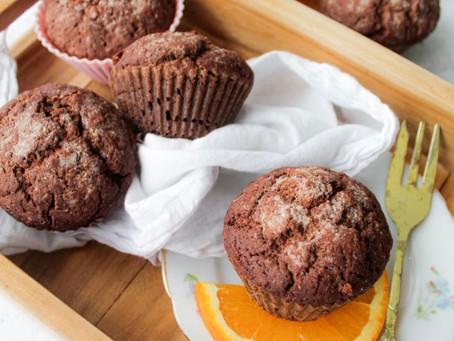 Chocolade muffins met sinaasappel