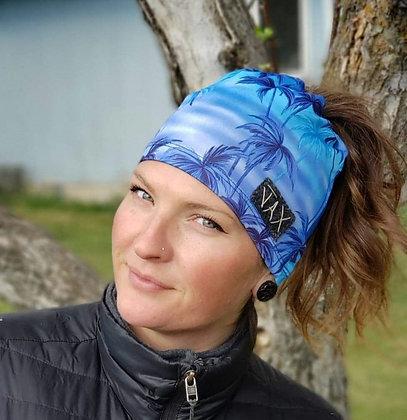 SM summer Tropical palm blue bun beanie