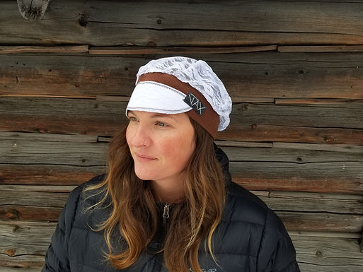 White on brown lace hat
