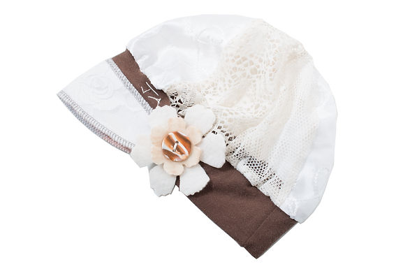 White Lace with Brown Band