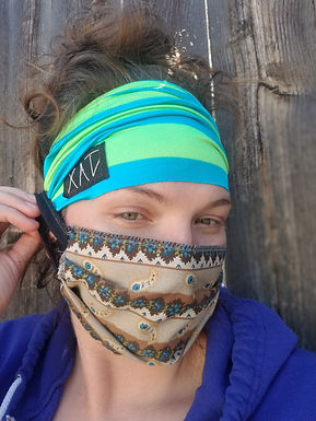 Stripe green button headband