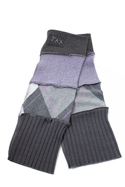 Checkered Grey Knit with Purple Accents