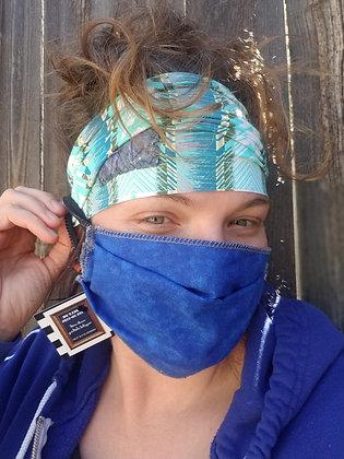Teal boho button headband