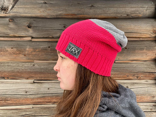 Pink and grey slouchie