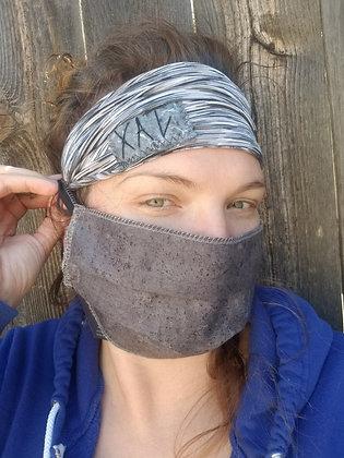 Grey heathered button headband