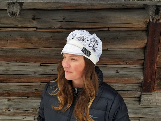White on white lace hat