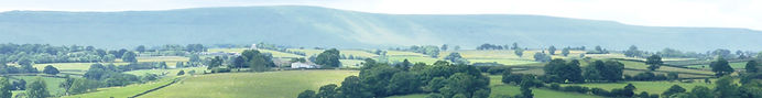 view to Cothill Barns with the Black Mountains near Hay on Wye